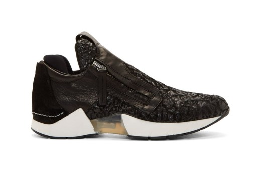 CA by Cinzia Araia Black Crinkled Leather Slip-On Sneaker