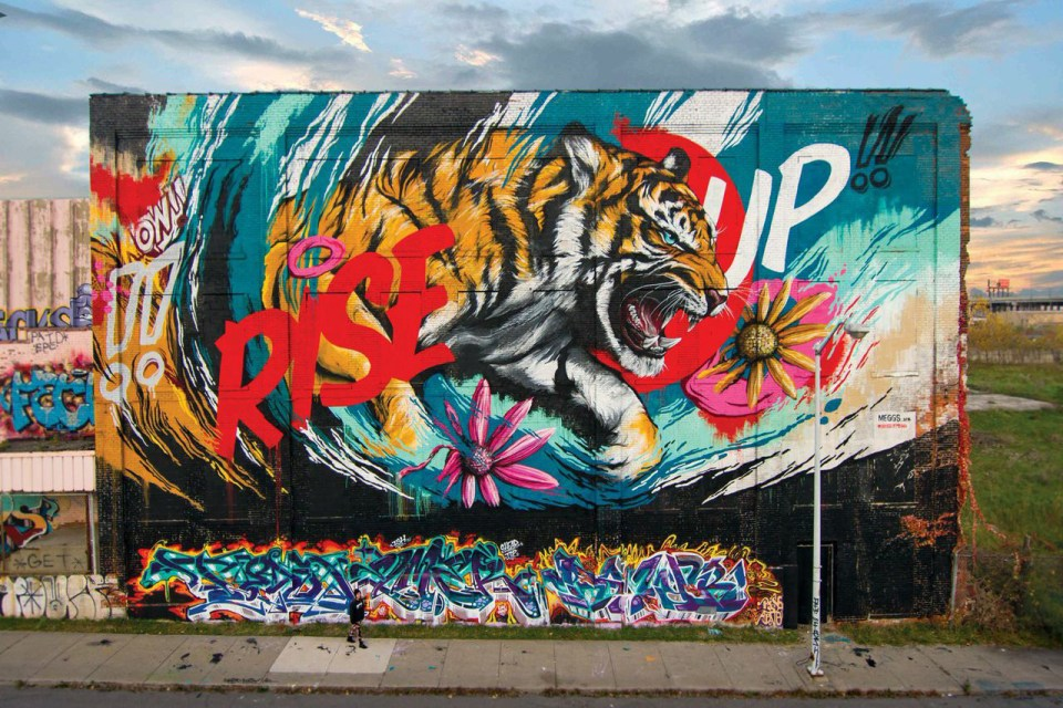 Meggs rise up mural hypebeast for Daft punk mural