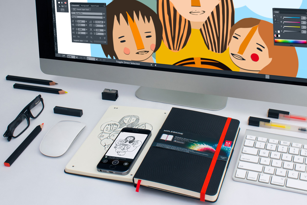 Transform Hand Drawn Art to Digitized Files with Adobe's New Creative Cloud and Moleskine Smart Notebook