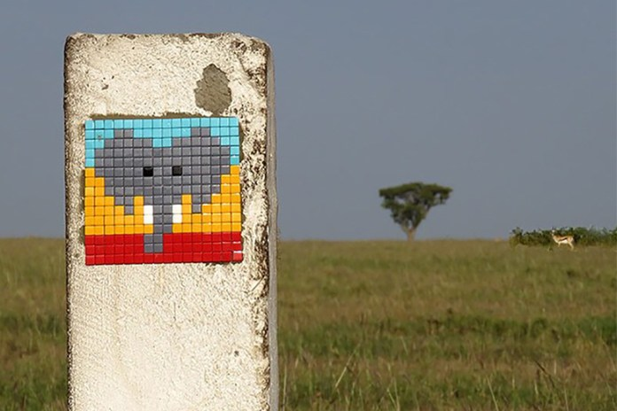 Invader Invades the Serengeti with Tile Art