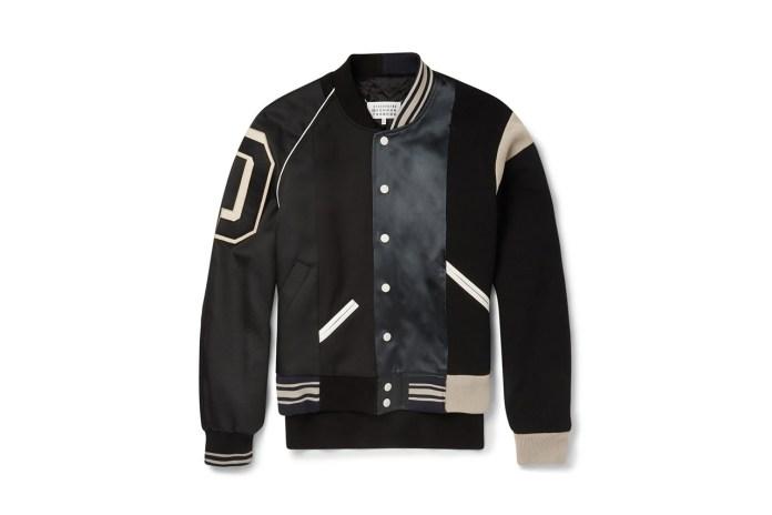 Maison Martin Margiela Satin-Panelled Cotton-Twill Varsity Jacket