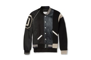 Maison Martin Margiela Satin-Panelled Cotton-Twill Varsity Jacket