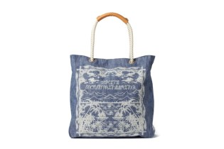 White Mountaineering x Porter 2015 Spring/Summer Zimbabwe Heavy Canvas Denim Discharge Dyeing Print Tote Bag