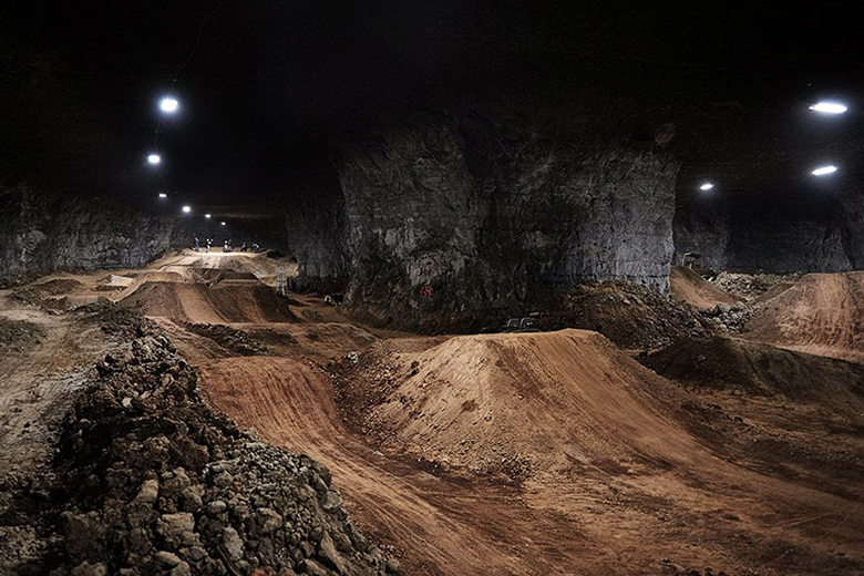 The World's Largest Indoor Bike Park, Housed in a Limestone Mine