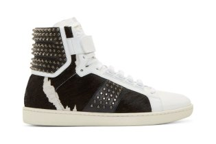 Saint Laurent SL/10 Court Classic High-Top White & Black Calf Hair