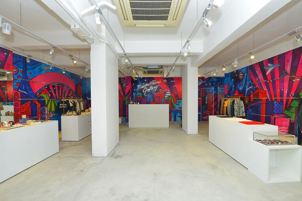 a look inside the maison kitsune gallery pop up in hong kong hypebeast. Black Bedroom Furniture Sets. Home Design Ideas