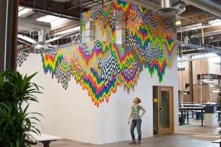 Artist Jen Stark's Psychedelic Murals for Facebook HQ