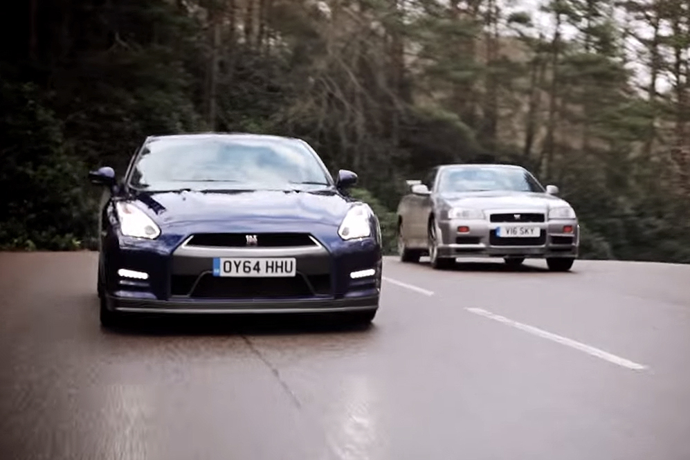 Different Generations of the Nissan GT-R Face Off Including the R34 and R35