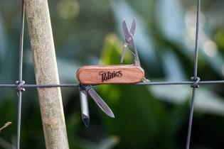Sneaker Politics Classic Wood Grain Keychain Army Knife