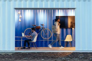 Trade Warehouse Converted Into a Colorful Workspace by Rapt Studio