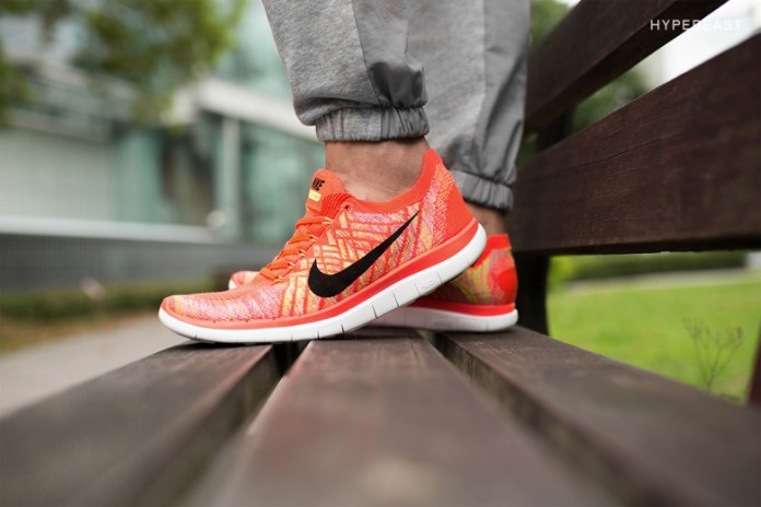"A Closer Look at the Nike Free 4.0 Flyknit ""Bright Crimson/Hot Lava"""