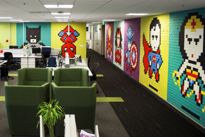 An 8-Bit Superhero Mural Constructed Out of 8,024 Sticky Notes