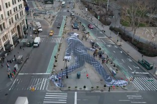 A Time-Lapse of Artist JR Creating a Large-Scale Mural in Manhattan