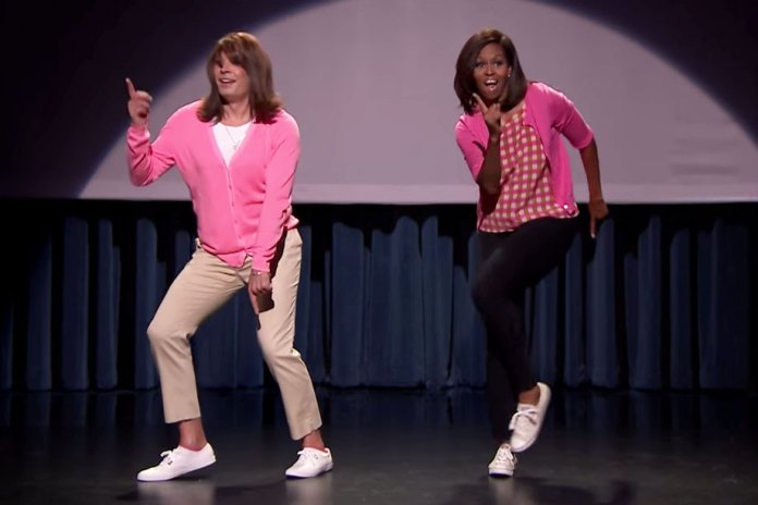 """Jimmy Fallon & Michelle Obama Demonstrate the """"Evolution of Mom Dancing"""""""