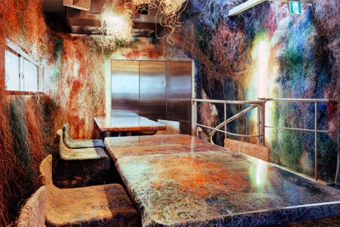 Kengo Kuma and Associates' Colorful Cable-Adorned Yakitori Bar