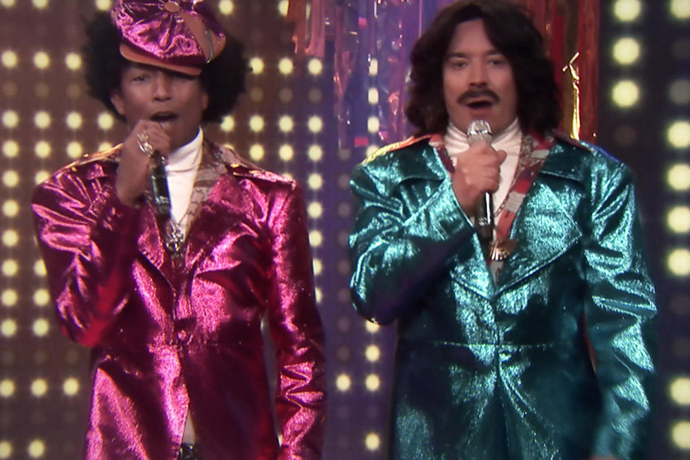 "Pharrell and Jimmy Fallon Perform as '80s R&B Duo ""Afro & Deziak"""