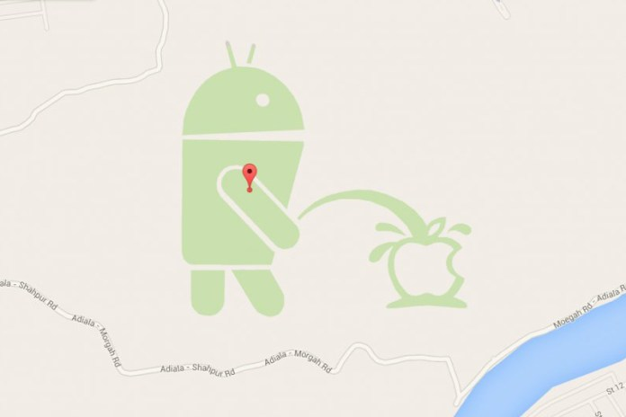 There's an Android Mascot Urinating on the Apple Logo in Google Maps