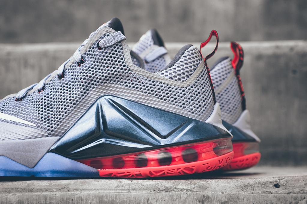 b947237ff562e Nike Lebron 12 Low Wolf Grey On Foot Hot Lava