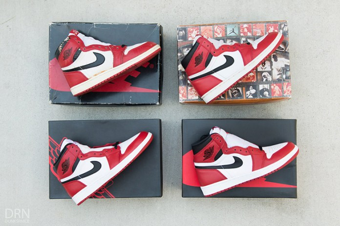 "A Detailed Comparison of Four Different Air Jordan 1 ""Chicago"" Renditions"