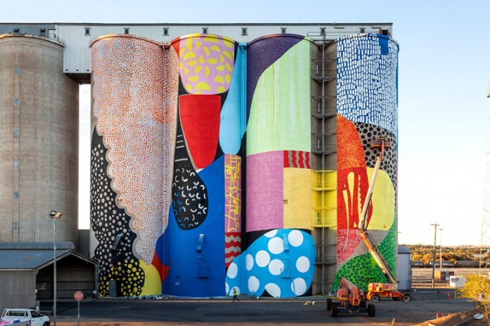 HENSE Giant Mural on Grain Silos in Western Australia