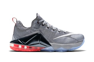 Nike LeBron 12 Low Wolf Grey/Black-Hot Lava