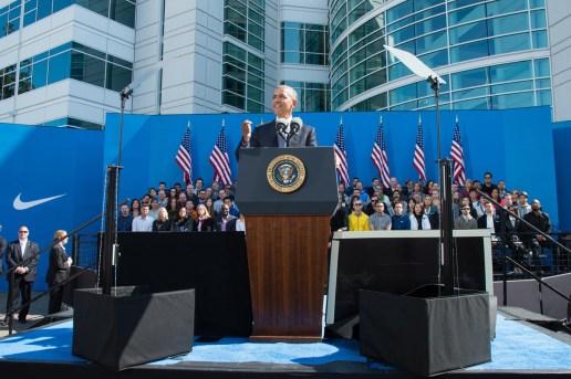 President Obama Visits Nike's World Headquarters