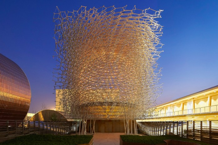 The UK Pavilion Presents a Giant Aluminum Beehive