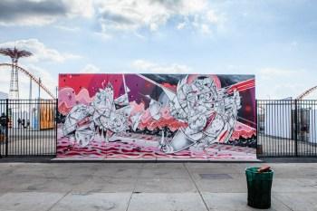 Ben Eine, Shepard Fairey, How and Nosm, Daze and CRASH Paint Murals @ Coney Island Art Walls