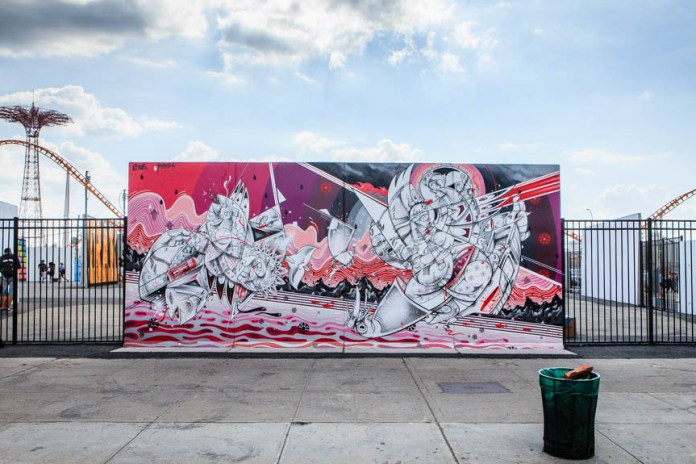 Ben Eine, Shepard Fairey, How and Nosm, Daze and CRASH Paint Murals @ Coney Island Art Walls