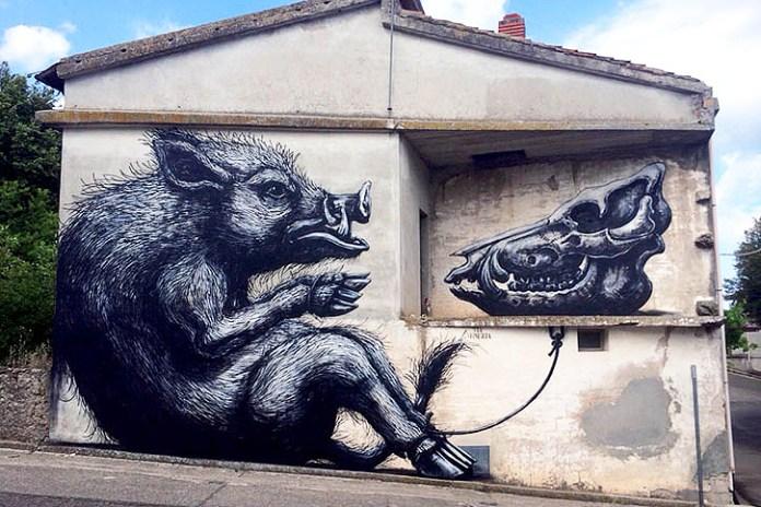ROA Street Art Mural in Sardinia