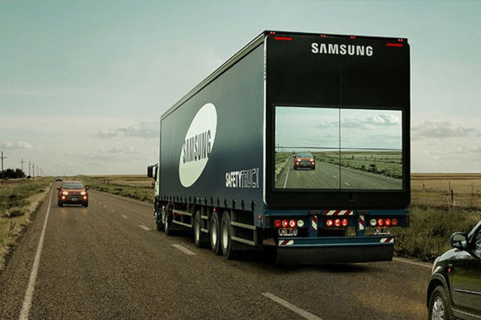 "Samsung Introduces ""See-Through"" Trucks to Improve Road Safety"