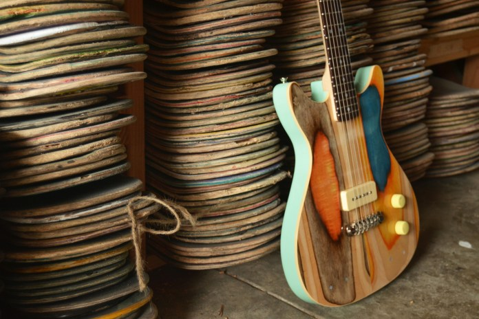 Designer Nick Pourfard Upcycles Skate Decks Into Colorful Guitars