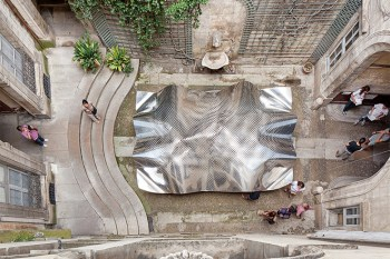 FAKT Creates an Aluminum Cloudscape in a French Courtyard