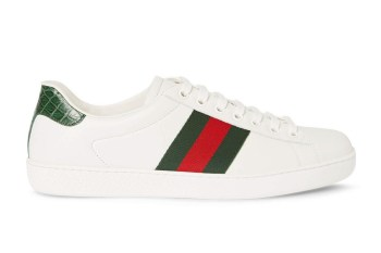 Gucci Crocodile & Webbing-Trimmed Leather Sneakers