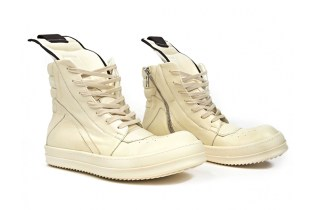 "Rick Owens Geobasket Leather Sneakers ""Off-White"""