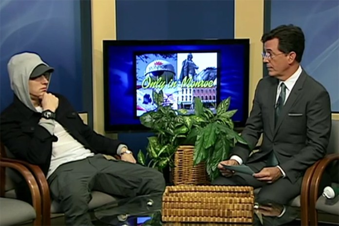 Stephen Colbert Interviews Eminem on Public Access TV