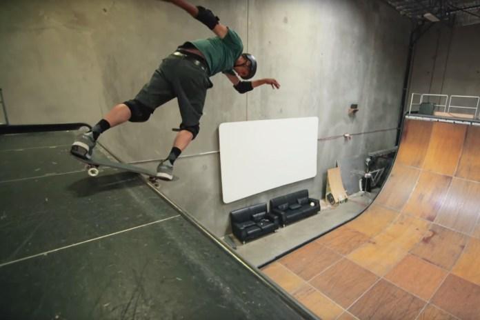 Tony Hawk Skates a Cardboard Skateboard