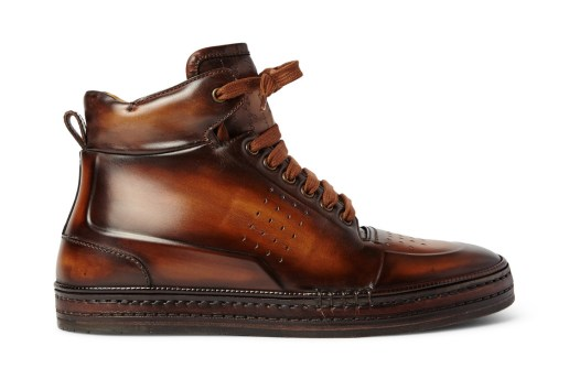 "Berluti Playtime Burnished-Leather High-Top ""Brown"""