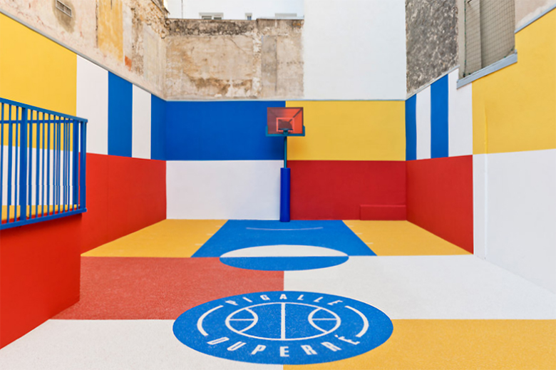 Pigalle Creates a Colorful Basketball Court Between Paris Apartments