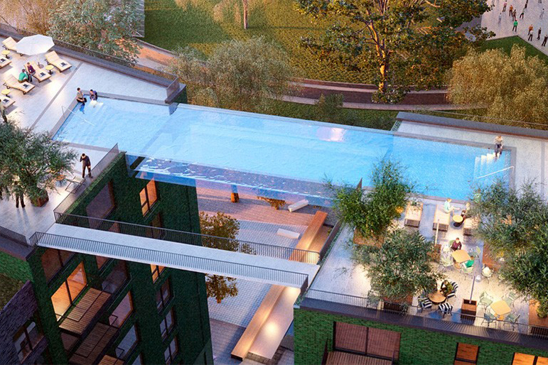This Glass-Bottomed Swimming Pool Bridges Two Buildings