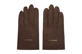UNDERCOVER Brown Leather Text Gloves
