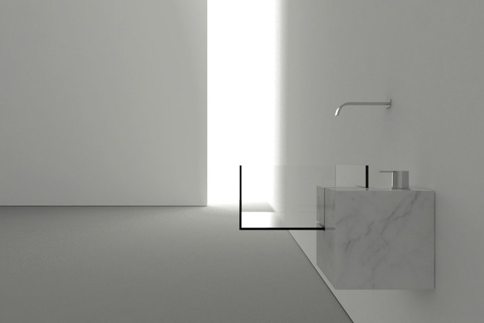 Victor Vasilev Constructs an Invisible Bathroom Sink From Marble and Glass