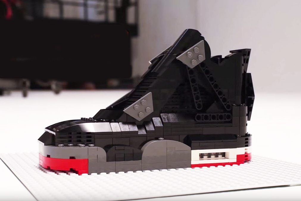 "Watch This LEGO Air Jordan IV ""Bred"" Build Itself From Scratch"