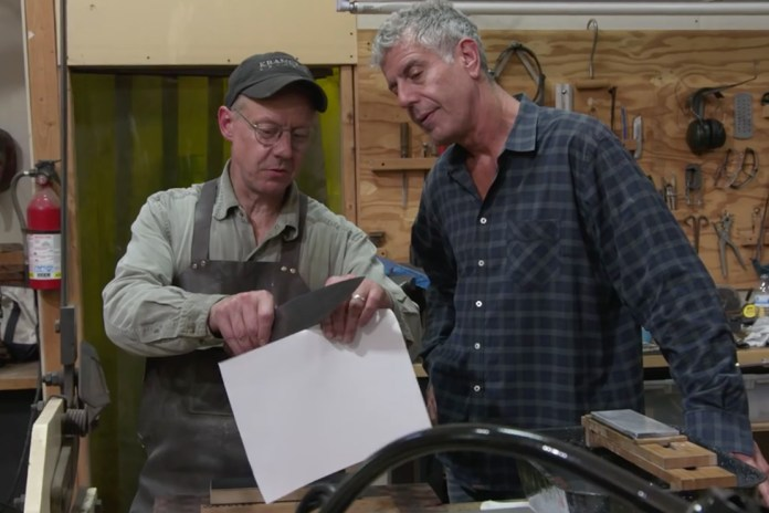 Anthony Bourdain Checks out Bob Kramer's Melted Meteorite Knives