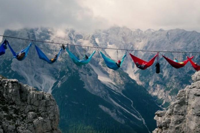 Daredevils String Hammocks Over Alpine Chasm as WWI Memorial