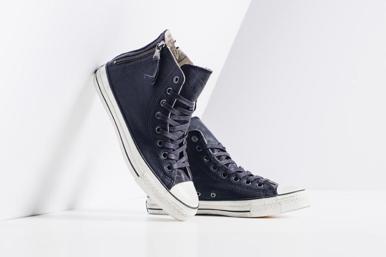 John Varvatos x Converse Leather Double Heel Zip Hi Navy