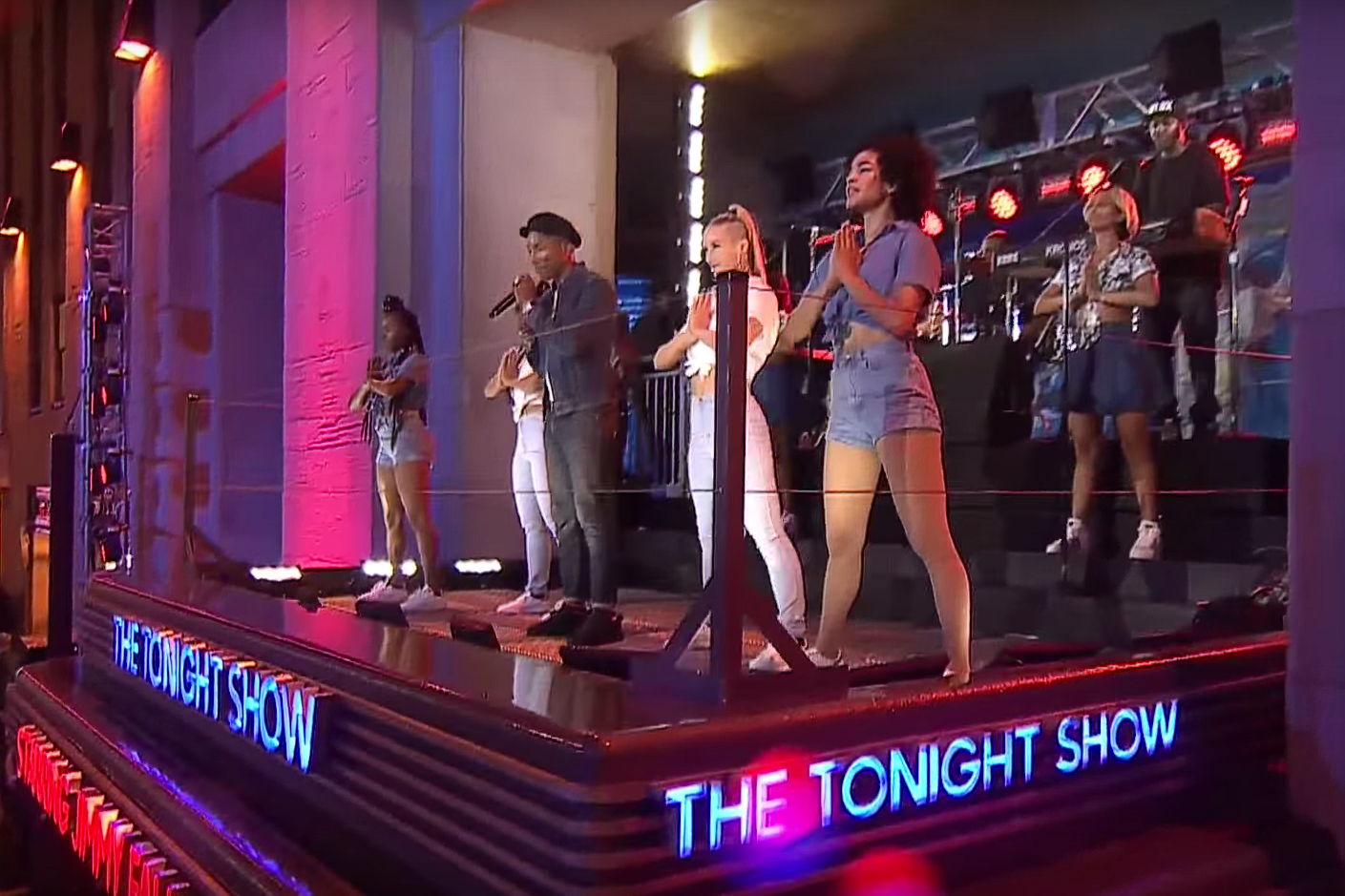 """Watch Pharrell Williams Perform """"Freedom"""" on Top of The Tonight Show Marquee in NYC"""