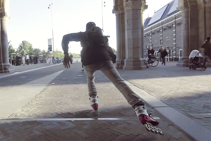 Rollerbladers Skate Through Amsterdam