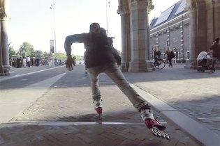 Rollerbladers Skate Through Amsterdam