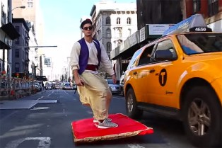 Aladdin Flies Through the Streets of NYC